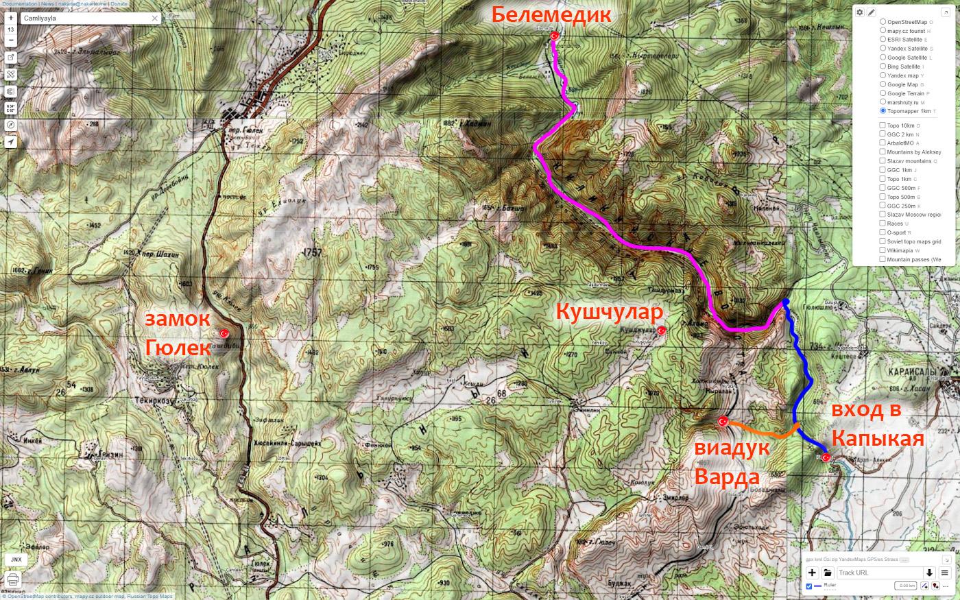 14. Карта со семой расположения крепости Гюлек, каньонов Чакыт и Капыкая, виадука Варда.