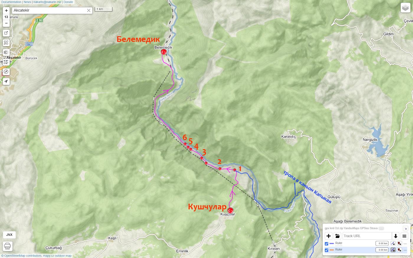 13. Карта со схемой маршрута поездки по каньону Чакыт (Киликийские ворота).