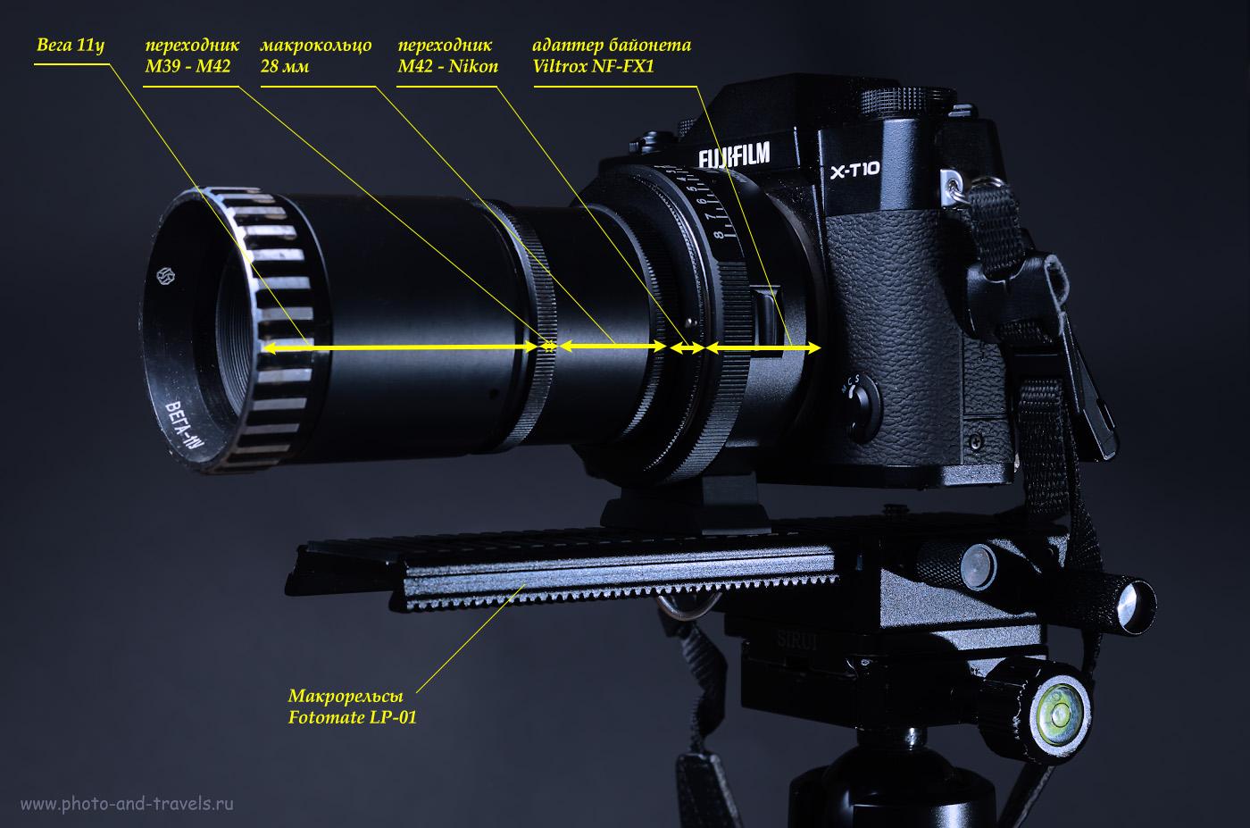 3. Как прикрутить советский объектив к современной камере? В случае с Вега-11У понадобится переходник М39/М42 и М42/Nikon F. Степень увеличения регулируется длиной макроколец.