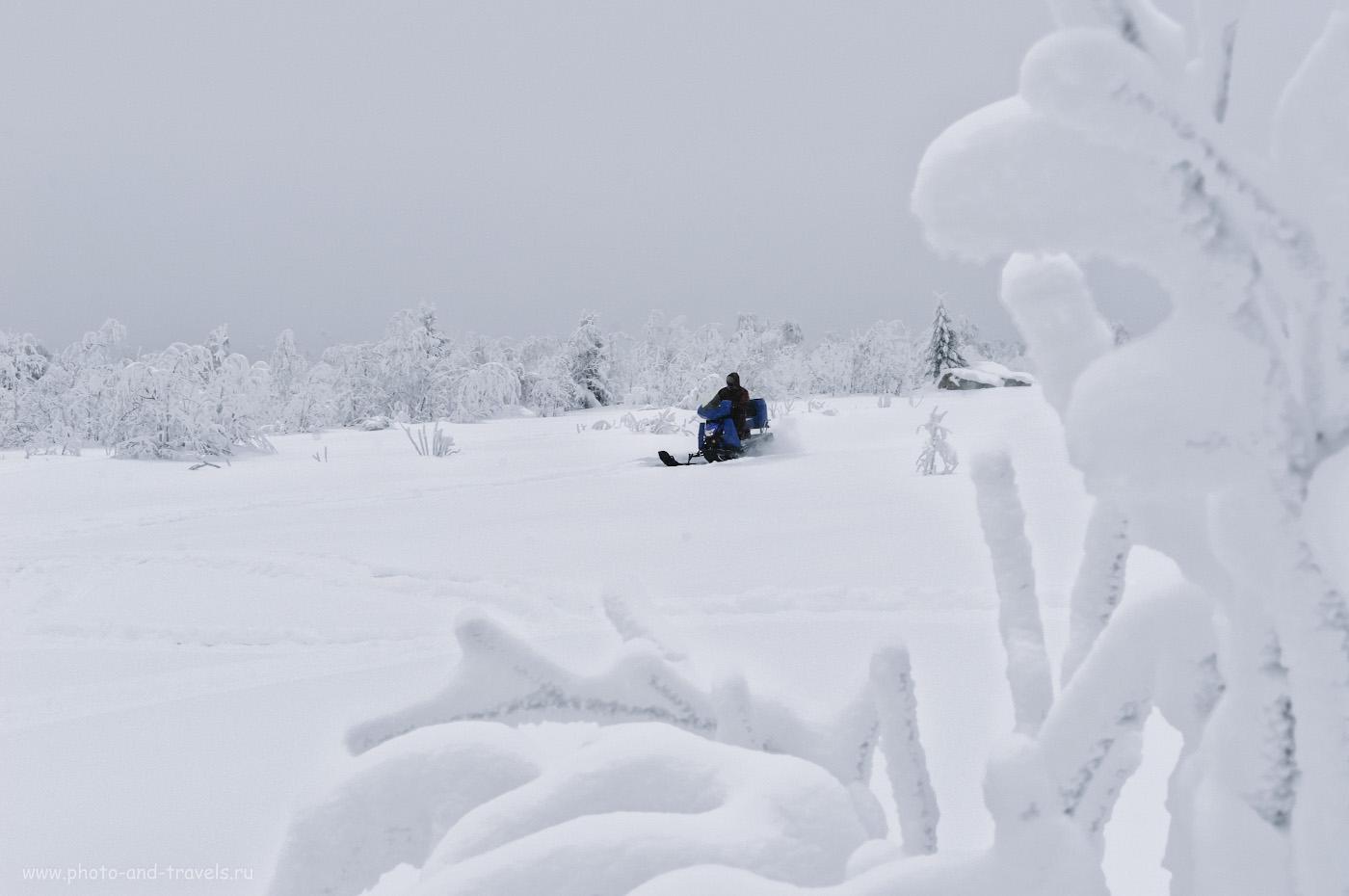13. Вдоль скал на горе Крестовая постоянно ездят снегоходы. Это облегчает пешую прогулку туристам: по следу не проваливаешься. 1/125, 10.0, 720, +1.67, 56.