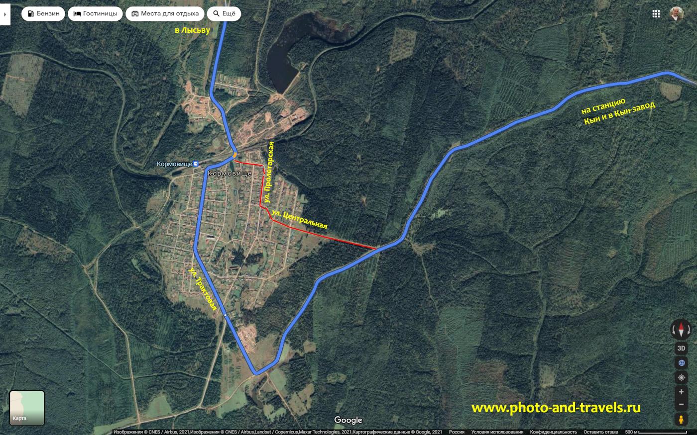 4. Карта легкого и сложного маршрута проезда по пути из Лысьвы в Кын через поселок Кормовище.